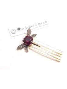Peigne libellule et cabochon en cristal rouge, bijoux mariage, bijoux intemporels, bijoux cristal