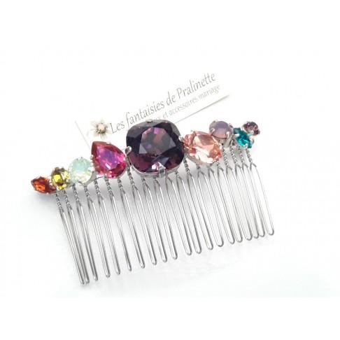 Peigne cheveux cabochons en cristal multicolors, bijoux intemporels, bijoux en cristal