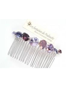 Hermonia peigne cheveux cabochons en cristal multicolore, bijoux intemporels, bijoux en cristal