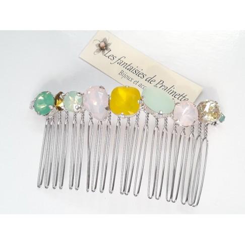 Peigne cheveux cabochons en cristal multicolore, bijoux intemporels, bijoux en cristal