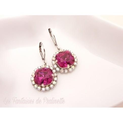 Boucles d'oreilles strass et cristal, bijoux mariage, bijoux intemporels, lovely bridemaids earrings, rose water opal earrings