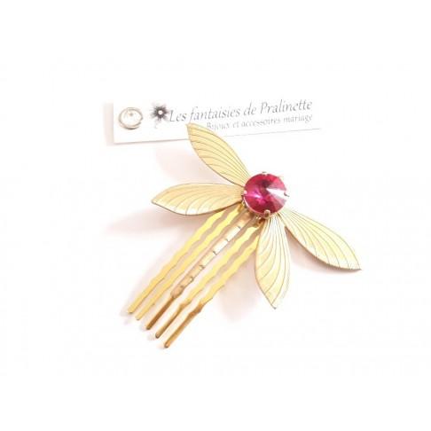 Peigne libellule et cabochon en cristal rose fuchsia, bijoux mariage, bijoux intemporels, bijoux cristal