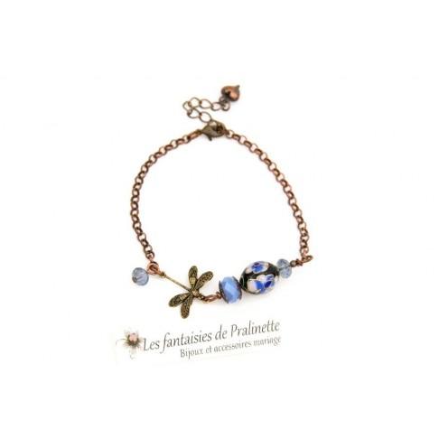 Bracelet perle cloisonnée et libellule, perles bleues, tons cuivre et bronze