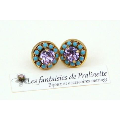 Boucles d'oreilles clous Colette strass et cabochons en cristal violet et turquoise