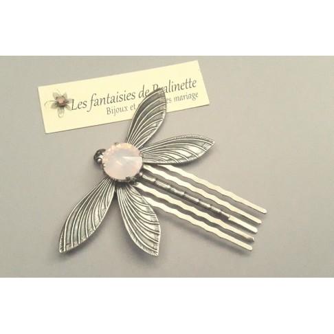 Peigne libellule et cabochon en cristal rose opal, bijoux mariage, bijoux intemporels, bijoux cristal