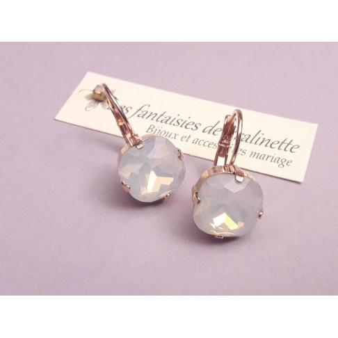 Boucles d'oreilles 1 Soline mariage soirée rose gold et cabochons en cristal rose opal