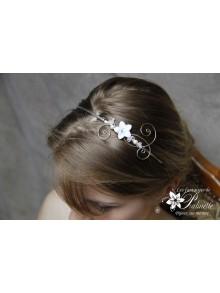 Serre-tête headband mariage fleur de nacre et arabesques