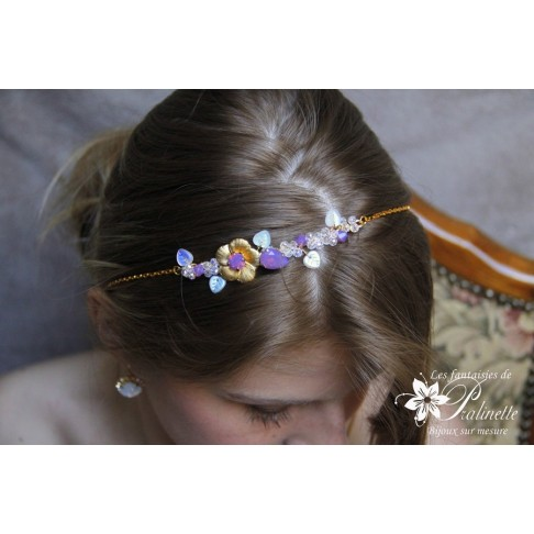 Headband mariage Elouan fleur dorée et cristal