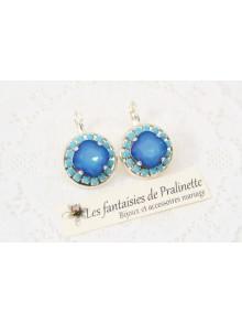Boucles d'oreilles cristal Bérénice blue sky opal et turquoise