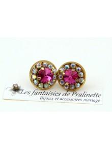 Boucles d'oreilles clous Colette cristal rose fuchsia, bijoux intemporels, bijoux mariage, bijoux demoiselles d'honneur témoins
