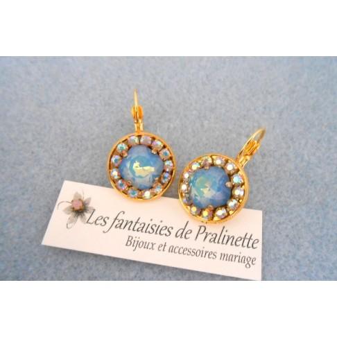 Boucles d'oreilles cristal Aline white opal star shine et strass aurore boréale