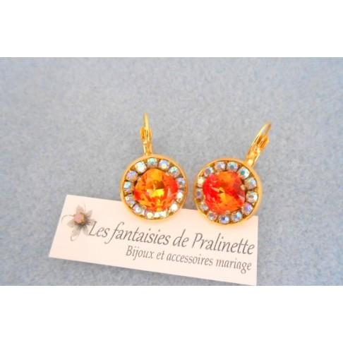 Boucles d'oreilles cristal Aline orange fire et strass aurore boréale