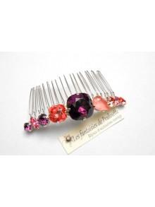 Caréa peigne en cristal, peigne cabochons en cristal améthyste et rose pêche
