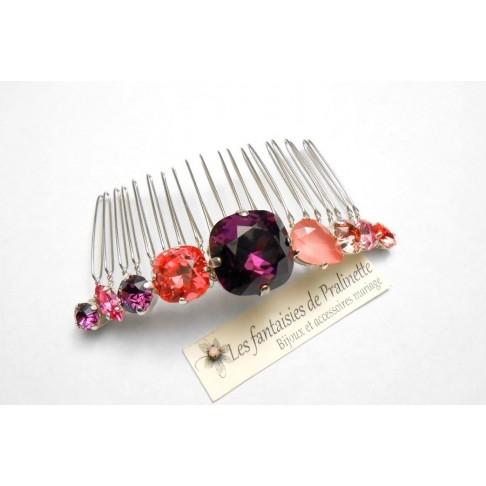 Peigne en cristal, peigne cabochons en cristal améthyste et rose pêche