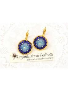 Boucles d'oreilles cristal Aline white opal star shine et strass bleu roi