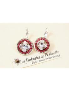 Boucles d'oreilles cristal Aline rose alabaster et strass rose fuchsia