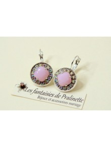 Boucles d'oreilles cristal Aline rose alabaster et strass reflets aurore boréale