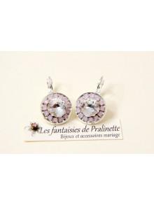 Boucles d'oreilles cristal Aline transparent et strass rose opal