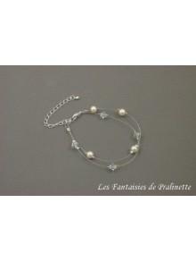 Bracelet Caroline double rangs perles en cristal