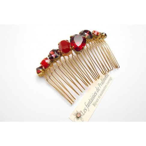 Peigne cheveux cabochons en cristal nuances de rouge, bijoux intemporels, bijoux en cristal