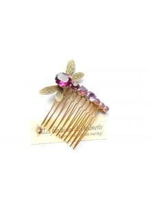 Libéa peigne en cristal et libellule dans les tons violets, violet améthyste