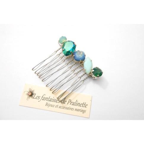 Navéa peigne en cristal tons verts et bleu, cabochons en cristal serti, bijoux fantaisie intemporels