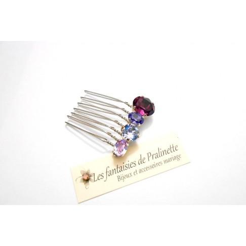Quatuor peigne cheveux intemporel en cristal, cristaux sertis violets