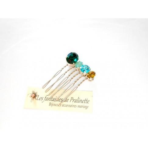Quatuor peigne cheveux intemporel en cristal, cristaux sertis verts et bleus