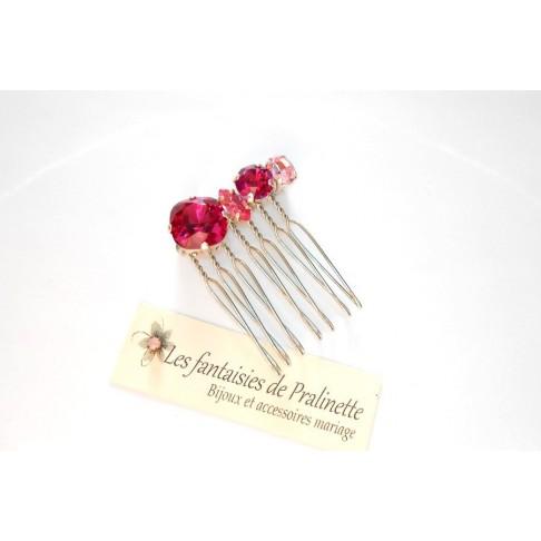 Quatuor peigne cheveux intemporel en cristal, cristaux sertis rose et fuchsia
