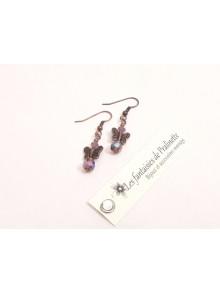 Boucles d'oreilles papillons cuivrés en cristal violet