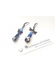 Boucles d'oreilles depareillées asymétriques, perles en hematit et cristal