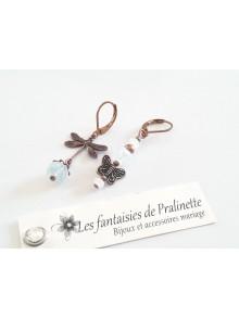 Boucles d'oreilles en cristal blanc opal et pâtines cuivrées