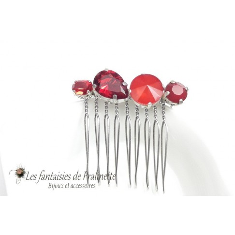 Alaman peigne en cristal rouge bijoux intemporels