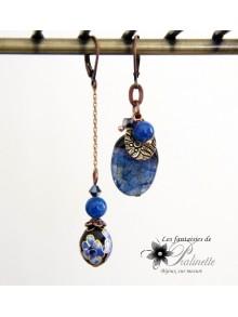 Boucles d'oreilles dépareillées agate bleue cristallisée et perle cloisonnée