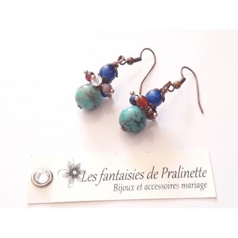 Boucles d'oreilles en turquoise et grappes de perles en cristal et pierres naturelles