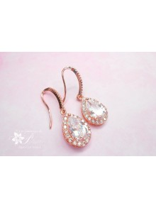 Boucles d'oreilles bijou de mariage rose gold, boucles d'oreilles pour la mariée gouttes strass