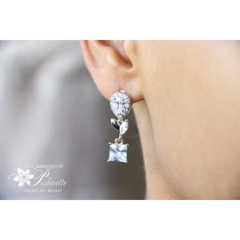 Strass boucles d'oreilles mariage ou cortège en zirconium