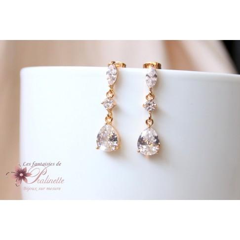 Boucles d'oreilles de mariage pendantes gouttes en cristal