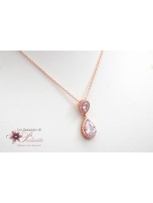 Collier de mariage duo gouttes en zirconiums rose gold