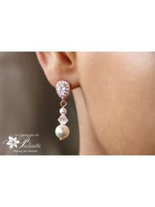Clous boucles d'oreilles mariées rose gold en zirconium et perles