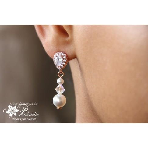 Bijoux mariage boucles d'oreilles mariées sur clous en zirconium et perles