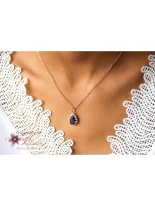 Belinda collier de mariage goutte baroque rhodiée et bleu saphir