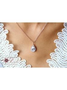 Belinda collier de mariage goutte baroque rhodiée