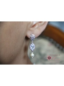 Anastazy boucles d'oreilles mariage perles et strass