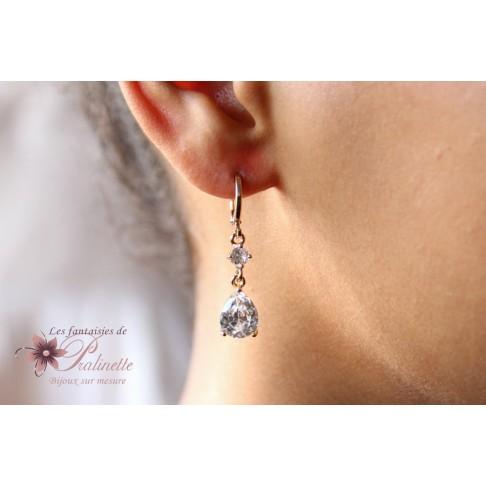 Eliasz boucles d'oreilles mariage gouttes en zirconiums