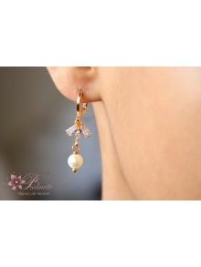 Boucles d'oreilles mariage Blues zirconiums et perles nacrées