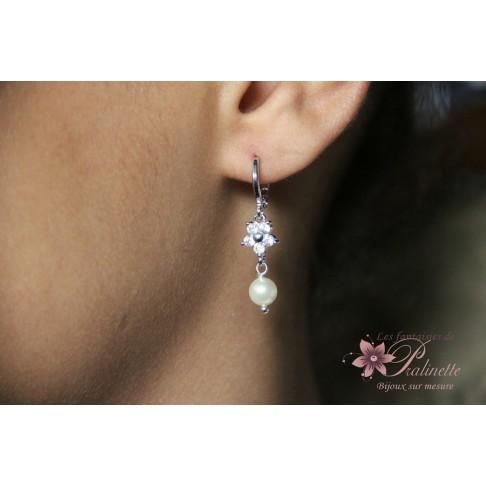 Boucles d'oreilles de mariage Azilis fleurs et perles