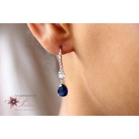 Boucles d'oreilles mariées Henryk bleu saphir