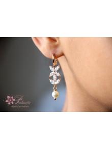 Boucles d'oreilles Janka pour la mariée, fleurs en zirconiums et perles