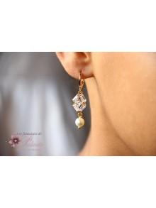 Boucles d'oreilles mariage Adrian, bijoux mariage art déco